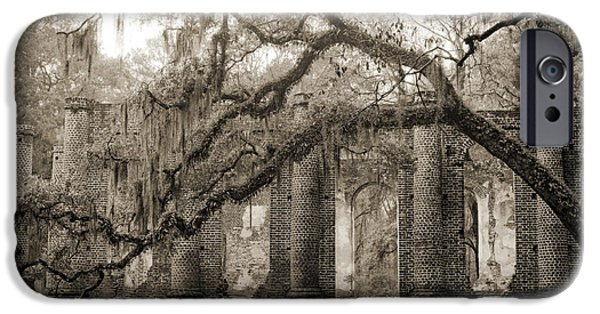 Ruins iPhone Cases - Old Sheldon Church Ruins iPhone Case by Dustin K Ryan