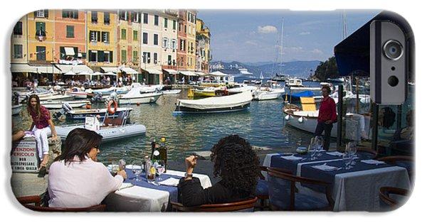 Portofino Cafe iPhone Cases - Portofino in the Italian Riviera in Liguria Italy iPhone Case by David Smith