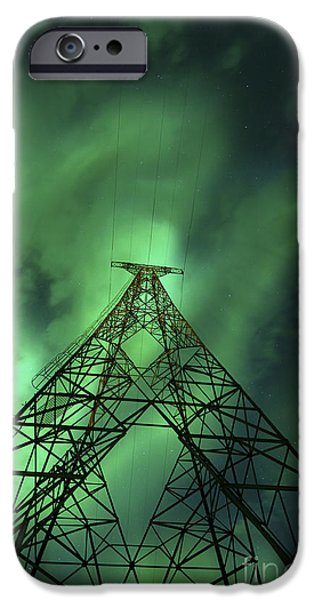 Electrical Component iPhone Cases - Powerlines And Aurora Borealis iPhone Case by Arild Heitmann