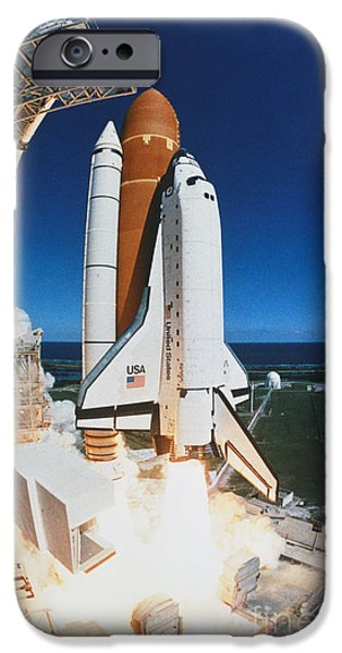 Space-craft iPhone Cases - Shuttle Lift-off iPhone Case by Science Source