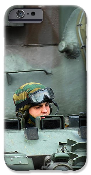 Tank Driver Of A Leopard 1a5 Mbt iPhone Case by Luc De Jaeger