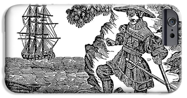 Pirate Ship iPhone Cases - WILLIAM KIDD (c1645-1701) iPhone Case by Granger