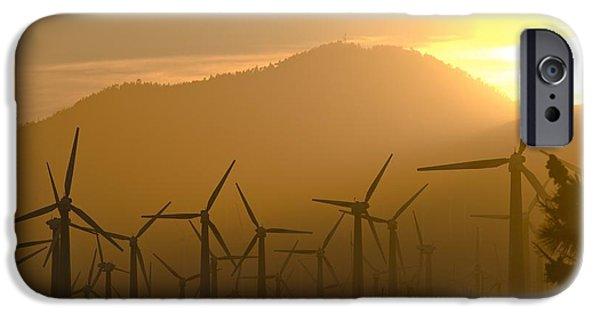 Electrical iPhone Cases - Wind Turbines, California, Usa iPhone Case by David Nunuk