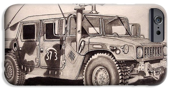 Iraq Drawings iPhone Cases - 50 Cal.Hummer iPhone Case by Ronald Welch