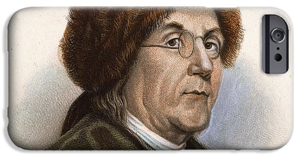 Franklin iPhone Cases - Benjamin Franklin (1706-1790) iPhone Case by Granger