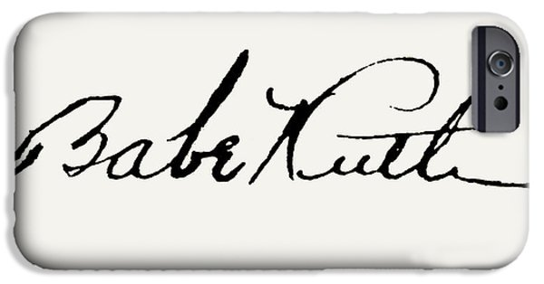 Autographed iPhone Cases - George H. Ruth (1895-1948) iPhone Case by Granger