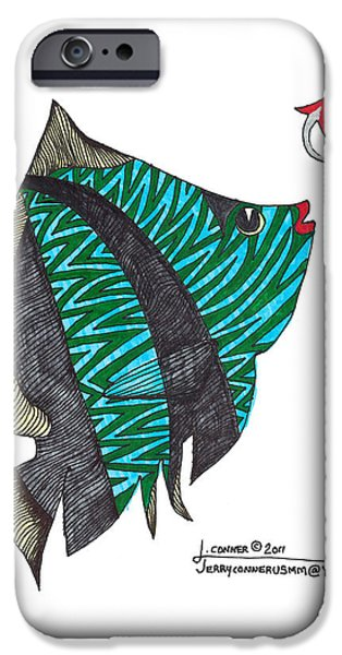 Simplicity Drawings iPhone Cases - Fish iPhone Case by Jerry Conner