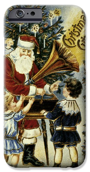 19th Century iPhone Cases - American Christmas Card iPhone Case by Granger