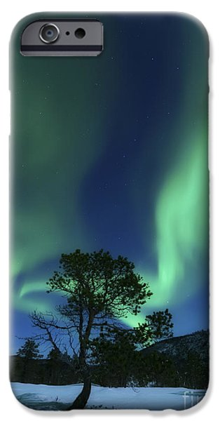 Landscape In Norway iPhone Cases - Aurora Borealis, Forramarka, Troms iPhone Case by Arild Heitmann