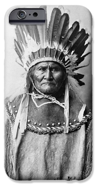 Native iPhone Cases - Geronimo (1829-1909) iPhone Case by Granger