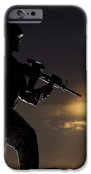 Partially Silhouetted U.s. Marine iPhone Case by Terry Moore