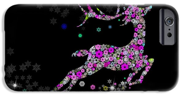 Holiday Digital Art iPhone Cases - Reindeer design by snowflakes iPhone Case by Setsiri Silapasuwanchai