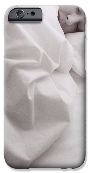 Bed Linens iPhone Cases - Sleeping Woman iPhone Case by Cristina Pedrazzini