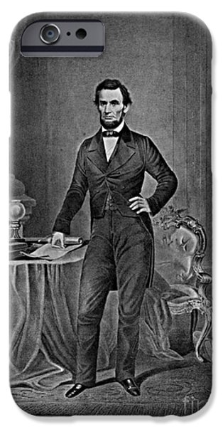Slavery Abolition iPhone Cases - Abraham Lincoln, 16th American President iPhone Case by Photo Researchers