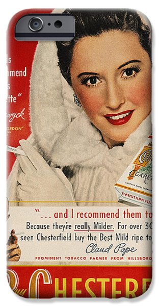 Endorsement iPhone Cases - Chesterfield Cigarette Ad iPhone Case by Granger