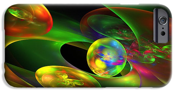 Chaos iPhone Cases - Computer Generated Planet Sphere Abstract Fractal Flame Modern Art iPhone Case by Keith Webber Jr