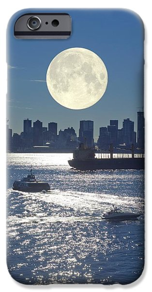 Sea Moon Full Moon iPhone Cases - Full Moon Over Vancouver iPhone Case by David Nunuk