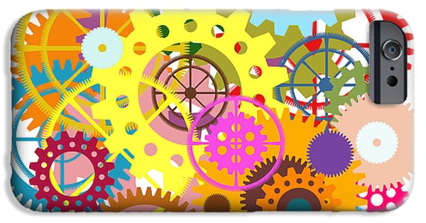 Business Digital Art iPhone Cases - Gears Wheels Design  iPhone Case by Setsiri Silapasuwanchai