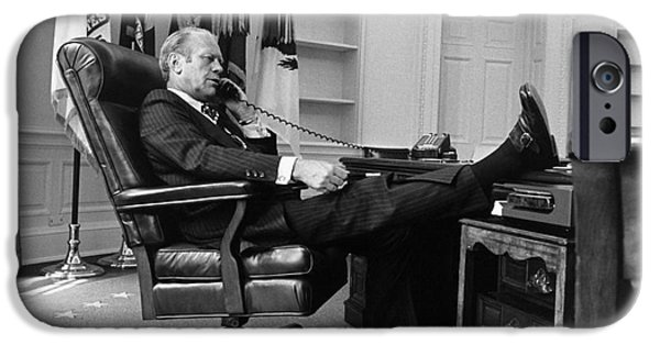 Oval Office iPhone Cases - Gerald Ford (1913-2006) iPhone Case by Granger