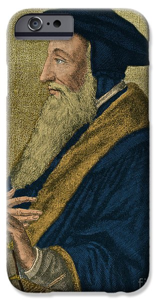 Presbyterian iPhone Cases - John Calvin, French Theologian iPhone Case by Photo Researchers