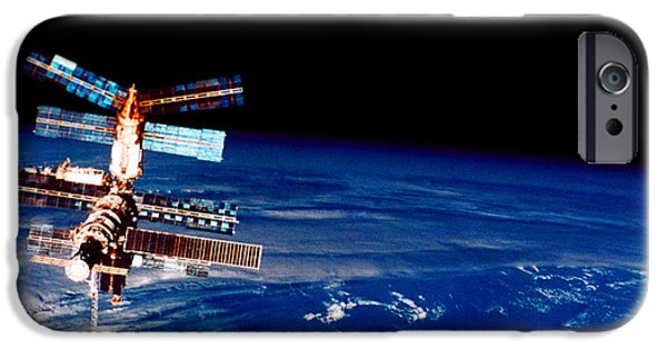 Space-craft iPhone Cases - Mir Space Station iPhone Case by Nasa