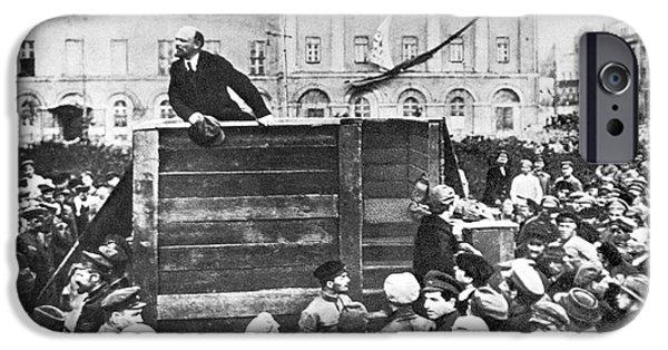 Airbrush iPhone Cases - Vladimir Lenin (1870-1924) iPhone Case by Granger