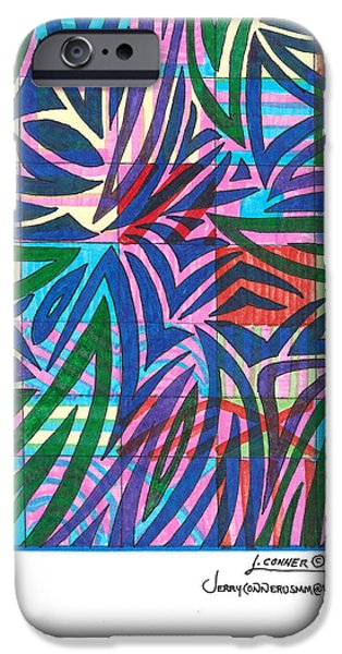 Abstract Seascape Drawings iPhone Cases - Untitled iPhone Case by Jerry Conner