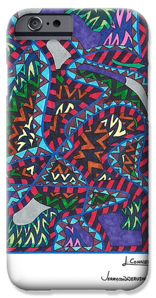 Abstract Drawings iPhone Cases - Untitled iPhone Case by Jerry Conner