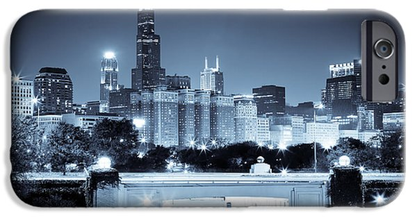 Willis Tower iPhone Cases - Chicago Skyline at Night iPhone Case by Paul Velgos