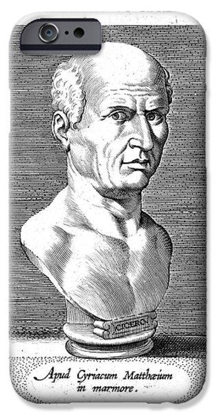 Statue Portrait iPhone Cases - Marcus Tullius Cicero iPhone Case by Granger