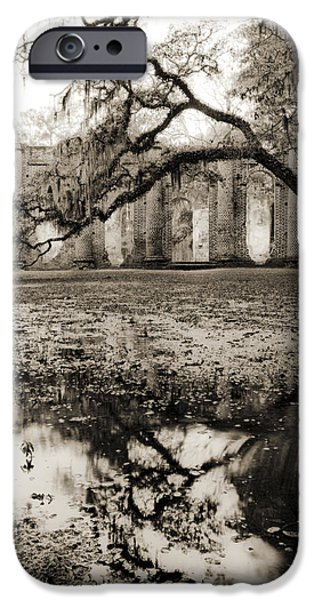 Spanish Moss iPhone Cases - Old Sheldon Church Ruins iPhone Case by Dustin K Ryan