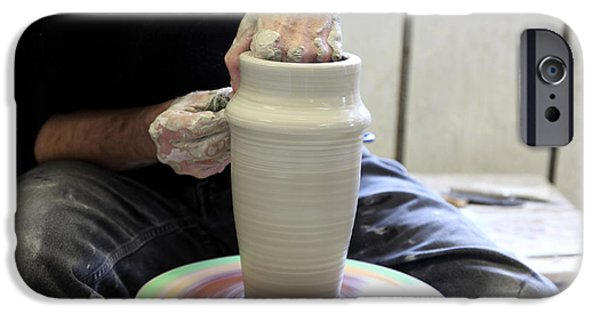 Hand Thrown Pottery Photographs iPhone Cases - Pottery Wheel, Sequence iPhone Case by Ted Kinsman