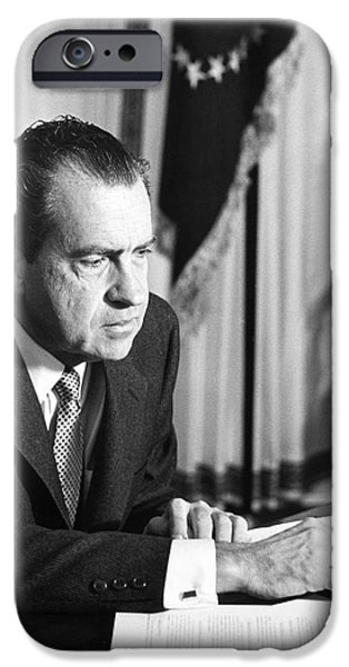 Oval Office iPhone Cases - Richard Nixon (1913-1994) iPhone Case by Granger