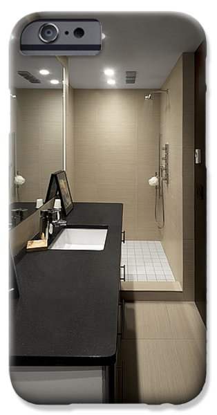 Electrical Equipment iPhone Cases - A Bathroom. With A Sink Unit Basin iPhone Case by Christian Scully