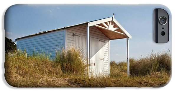 Hut iPhone Cases - A Beach hut in the Marram Grass at Old Hunstanton North Norfolk iPhone Case by John Edwards