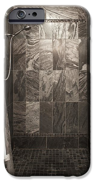 Shower Curtain iPhone Cases - A Bedroom In A House. A Double Bed iPhone Case by Christian Scully
