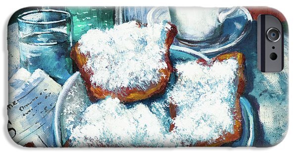 French Quarter Paintings iPhone Cases - A Beignet Morning iPhone Case by Dianne Parks