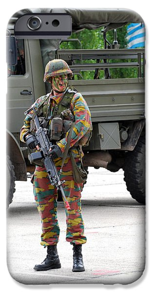 A Belgian Infantry Soldier Handling iPhone Case by Luc De Jaeger
