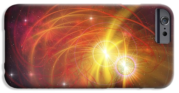 Cyberspace Digital Art iPhone Cases - A Binary Star System iPhone Case by Corey Ford