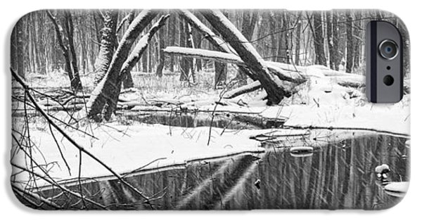 Wintertime iPhone Cases - A black and white panoramic photo of a stream in a winter snow storm iPhone Case by Randall Nyhof