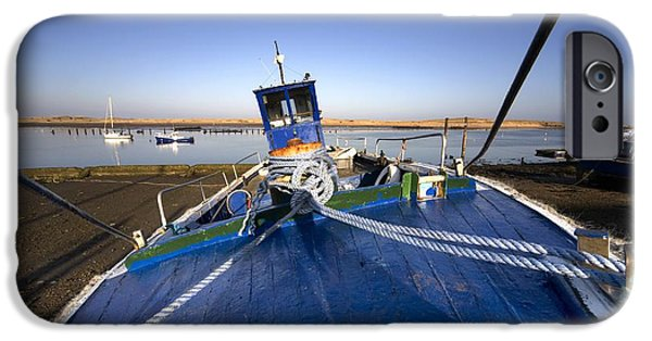 North Sea iPhone Cases - A Boat On Shore, Amble, Northumberland iPhone Case by John Short