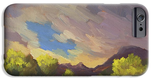Storm Paintings iPhone Cases - A Break in the Clouds iPhone Case by Diane McClary