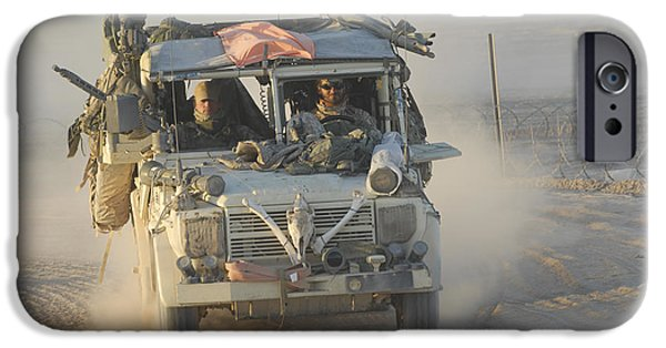 Iraq iPhone Cases - A British Armed Forces Snatch Land iPhone Case by Andrew Chittock
