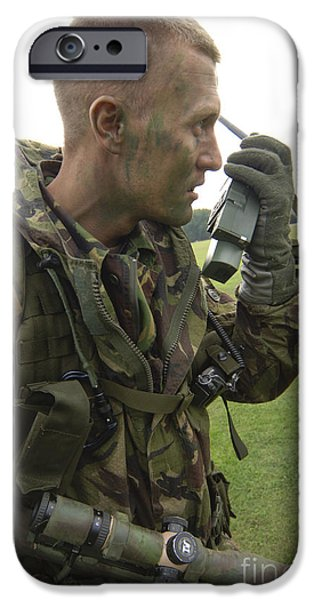 A British Army Soldier Radios iPhone Case by Andrew Chittock