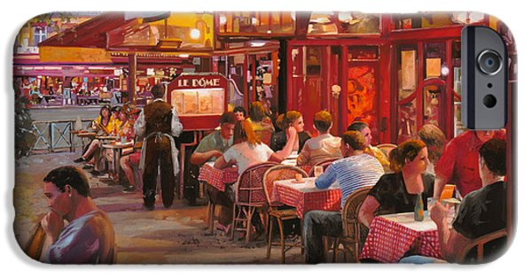 Street Paintings iPhone Cases - A Cena In Estate iPhone Case by Guido Borelli
