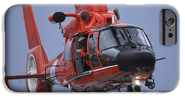 Law Enforcement iPhone Cases - A Coast Guard Mh-65 Dolphin Helicopter iPhone Case by Stocktrek Images