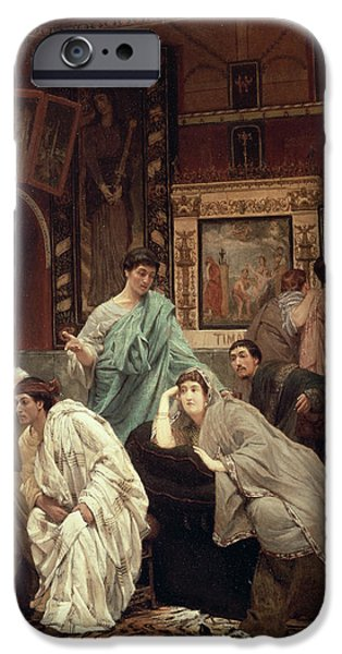 The Tiger Paintings iPhone Cases - A Collector of Pictures at the Time of Augustus iPhone Case by Sir Lawrence Alma-Tadema
