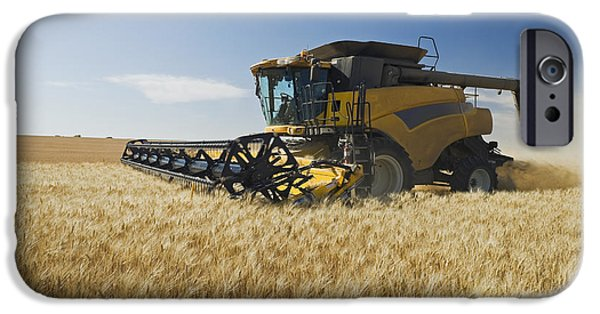 Combine Harvester iPhone Cases - A Combine Harvests Durum Wheat iPhone Case by Dave Reede