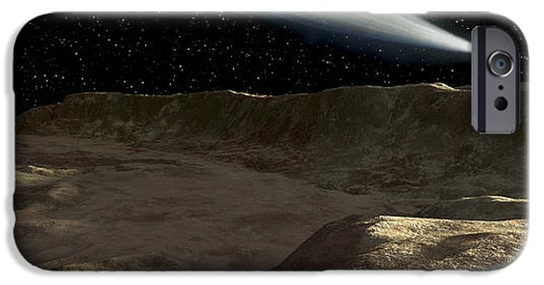 Surrealism Digital Art iPhone Cases - A Comet Passes Over The Surface iPhone Case by Ron Miller