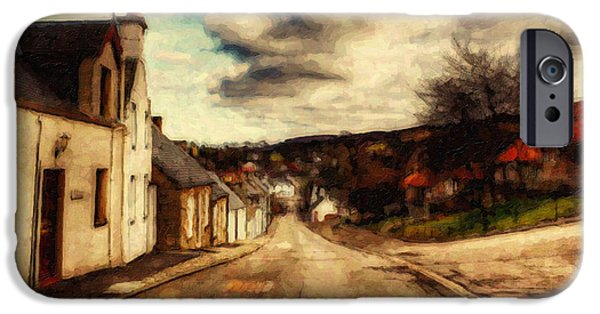 Tree Art Print iPhone Cases - A Cotswold Village iPhone Case by Lianne Schneider